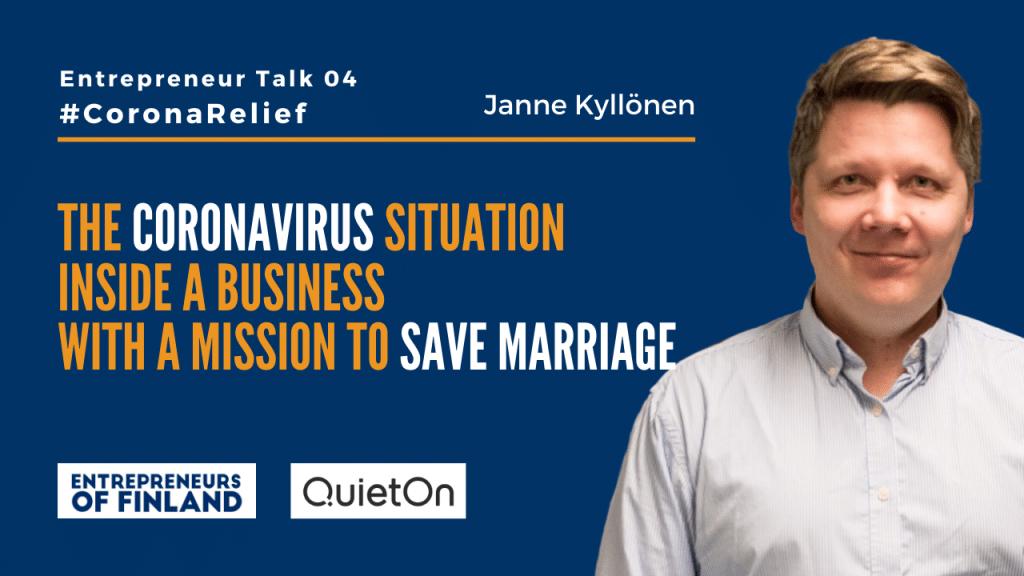 Janne Kyllonen QuiteOn CoronaRelief Entrepreneur Talk
