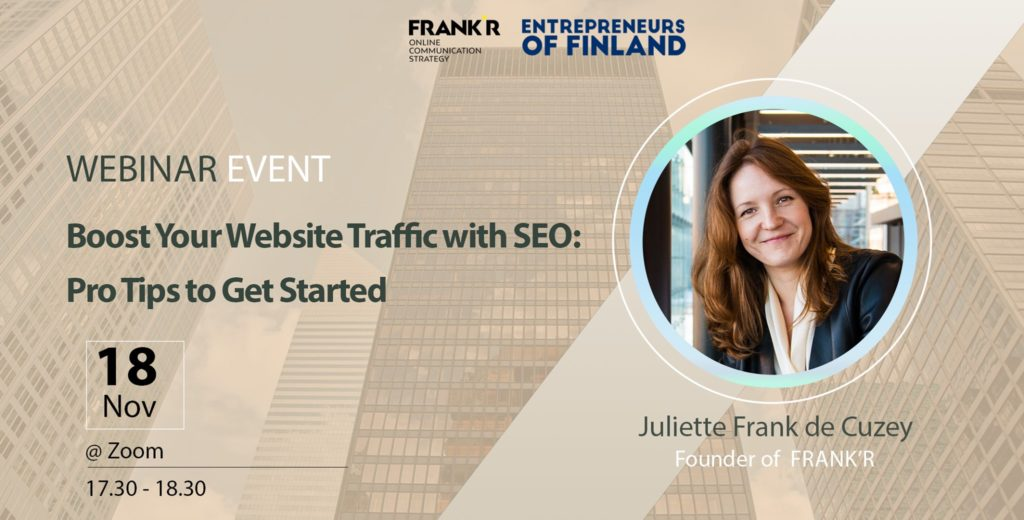 Boost your website traffic with SEO webinar event entrepreneurs of finland